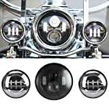 SUNPIE 7 Inch Black Motorcycle LED Headlight + 2pcs 4-1/2'' Fog Lights for Harley Davidson LED Passing Lights Front Lights Driving Lamp Projecotor