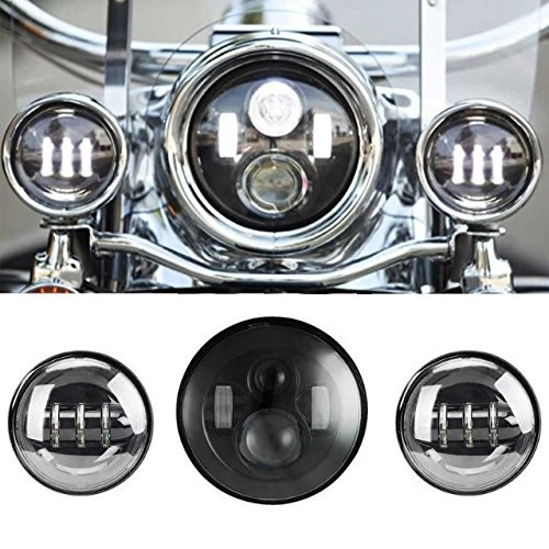 "SUNPIE 7 Inch Black Motorcycle LED Headlight + 2pcs 4-1/2"" Fog Lights for Harley Davidson LED Passing Lights Front Lights Driving Lamp Projecotor"