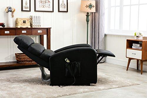 Amazon.com: Divano Roma Furniture   Classic Plush Bonded Leather Power Lift  Recliner Living Room Chair (Black): Kitchen U0026 Dining