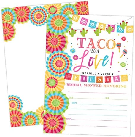 Fiesta Bridal Shower Invitations, Taco Bout Love, 20 Invitations and Envelopes