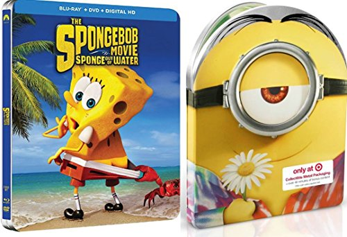 Minions + SpongeBob Movie Steelbook DVD + Blu Ray Exclusive Set Sponge Out of Water Deluxe Edition