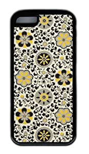 Flower Pattern Design Customized TPU Material Case Cover Black Skin for iphone 5C