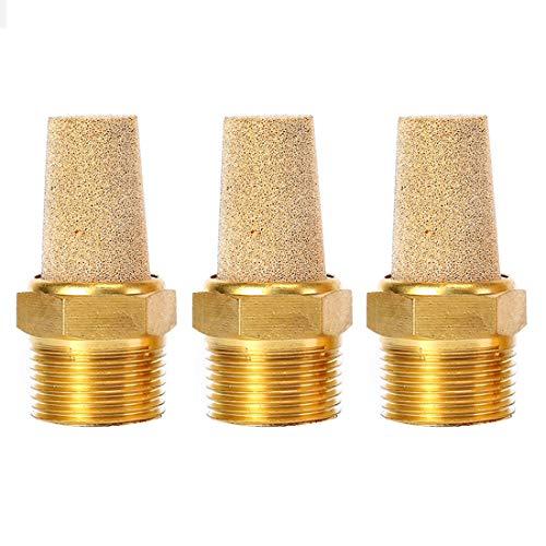 """Quickun Air Pneumatic Mufflers, 1/8"""" Male Thread Sintered Bronze Exhaust Muffler Silencer (Pack of 3)"""