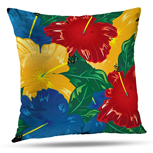 Pakaku Throw Pillows Covers for Couch/Bed 20 x 20 inch,Tropical Hibiscus Exotic Flowers Home Sofa Cushion Cover Pillowcase Gift Decorative Hidden Zipper Cotton and Polyester Summer Beach Sunlight ()