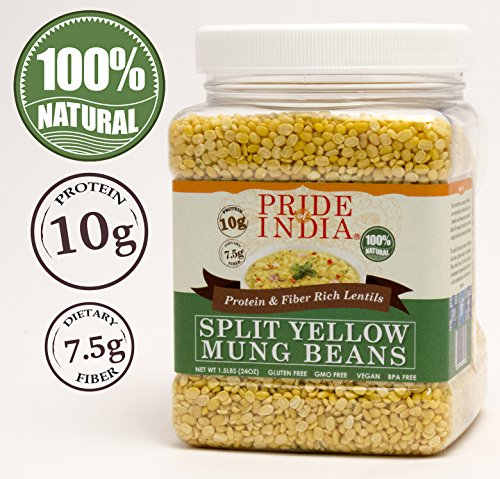 Pride Of India - Indian Split Yellow Mung Lentils - Protein & Fiber Rich Moong Dal, 1.5 Pound Jar (Yellow Split Pea)