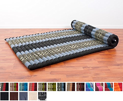 Leewadee Roll Up Thai Mattress XL, 79x41x2 inches, Kapok, Blue, Premium Double Stitched by Leewadee