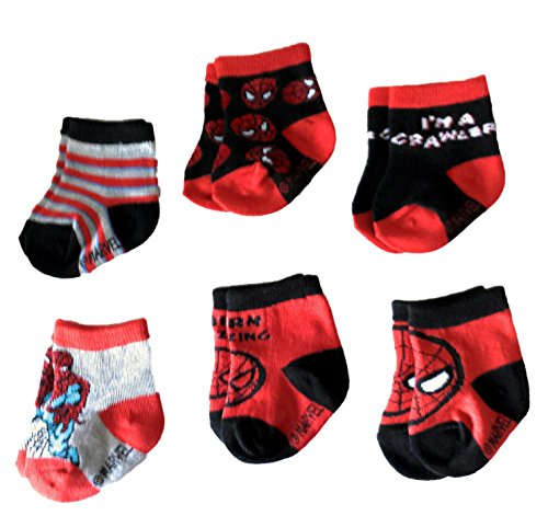 Marvel Spider-Man Superhero Infant Baby Boys Socks - 6 Pack (12-24 Months) by Spiderman