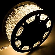 Diophros 150FT Rope Light, LED Strip Lights for Indoor Outdoor Rope Lighting Waterproof Decorative Lighting Backyards Garden and Party Decoration (Warm White)