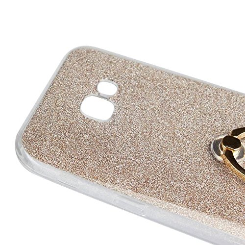 Luxus Bling Sparkle Style Case, Soft TPU [Silikon] Flexible Glitter Back Cover mit Fingerring Stand [Anti Scratch] [Shockproof] für Samsung Galaxy A7 2017 ( Color : White ) Gold