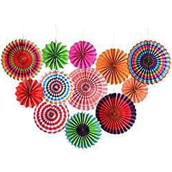 Fiesta Colorful Paper Fans Lantern For Wedding Birthday Carnival Party Supplies-12 Pack