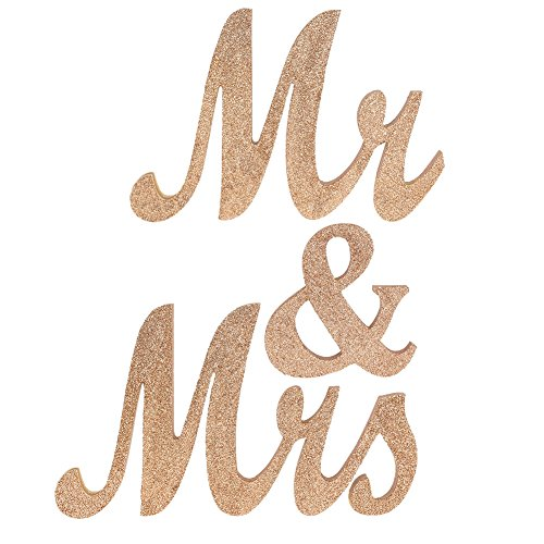 Ling's moment Wooden Mr & Mrs Letters Freestanding Wedding Sign for Wedding Sweetheart and Reception Table Decorations, Rose Gold Glitter - NO GLITTER FALLING - Wooden Glitter
