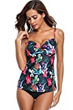 Maysoul Underwire Tankini Tops with Shorts for Women Floral Bathing Suits XL