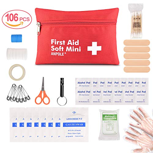 Anpole 106 Pieces Compact First Aid Kit, Professional Emergency Kit Waterproof Indoor Outdoor Medical Emergency Bag for Home, Car, Camping, Office, Boat, Hiking, Sports, and Traveling (S)