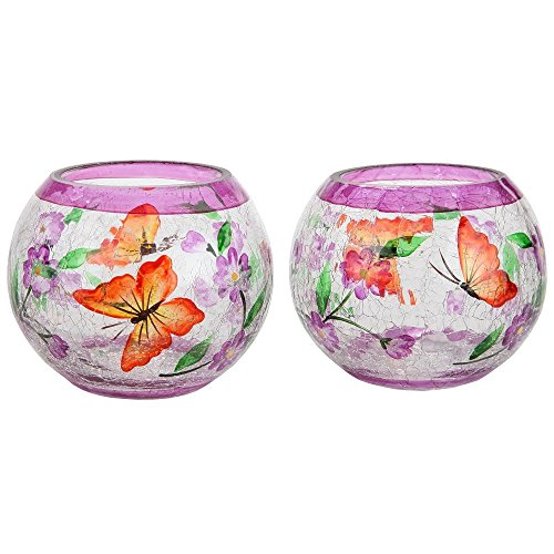 Candle Butterfly (Home-X - Hand Painted Blossoms and Butterflies Candleholders (Set of 2), Crackle Glass Candle Holder Design is Elegant, Crafted by Hand, and the Perfect Centerpiece in Any Home)