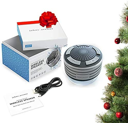 Bluetooth Shower Speaker by means of Johns Avenue - Newest Version 5.0 - Waterproof - Wireless - Portable Speaker with Strong Suction Cup and LED Mood Lights