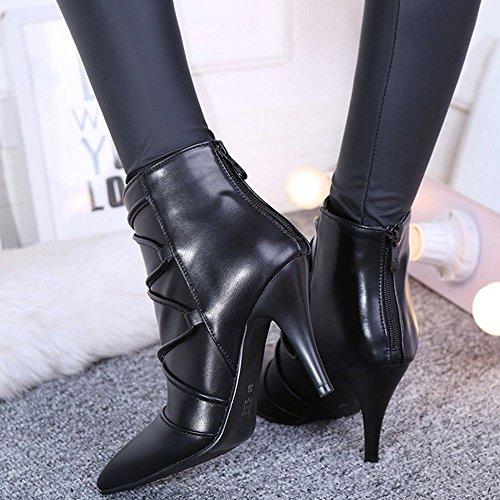 Tacones Negro COOLCEPT Vestido con Stiletto de Botines altos Mujeres Sexy cremallera fiesta twtfxTq4n