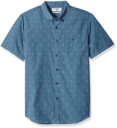 (Billabong Men's All Day Jacquard Short Sleeve Shirt Deep Blue Medium)
