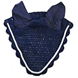 Intrepid International All Crochet Fly Veil with Ears Horse Size, Navy with Silver