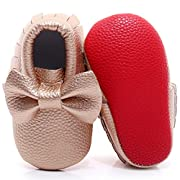 HONGTEYA Red Bottoms Shoes- PU Leather Newborn Baby Shoes Girl Boy Moccasins Bebe Fringe Soft Red Soled Non-Slip Crib Shoe (13.5cm 12-18 Months 5.31inch, Bow-Gold)