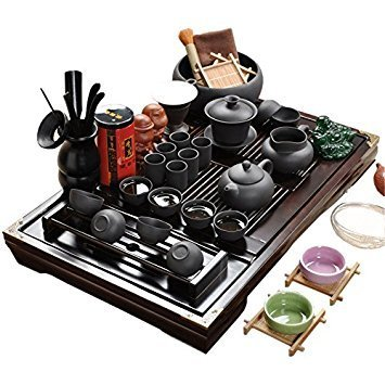 ufengke Chinese Ceramic Kung Fu Tea Set With Wooden Tea Tray And Small Tea Tools, Tea Service, Toy Tea Set For Gift, Office Home Use, Black