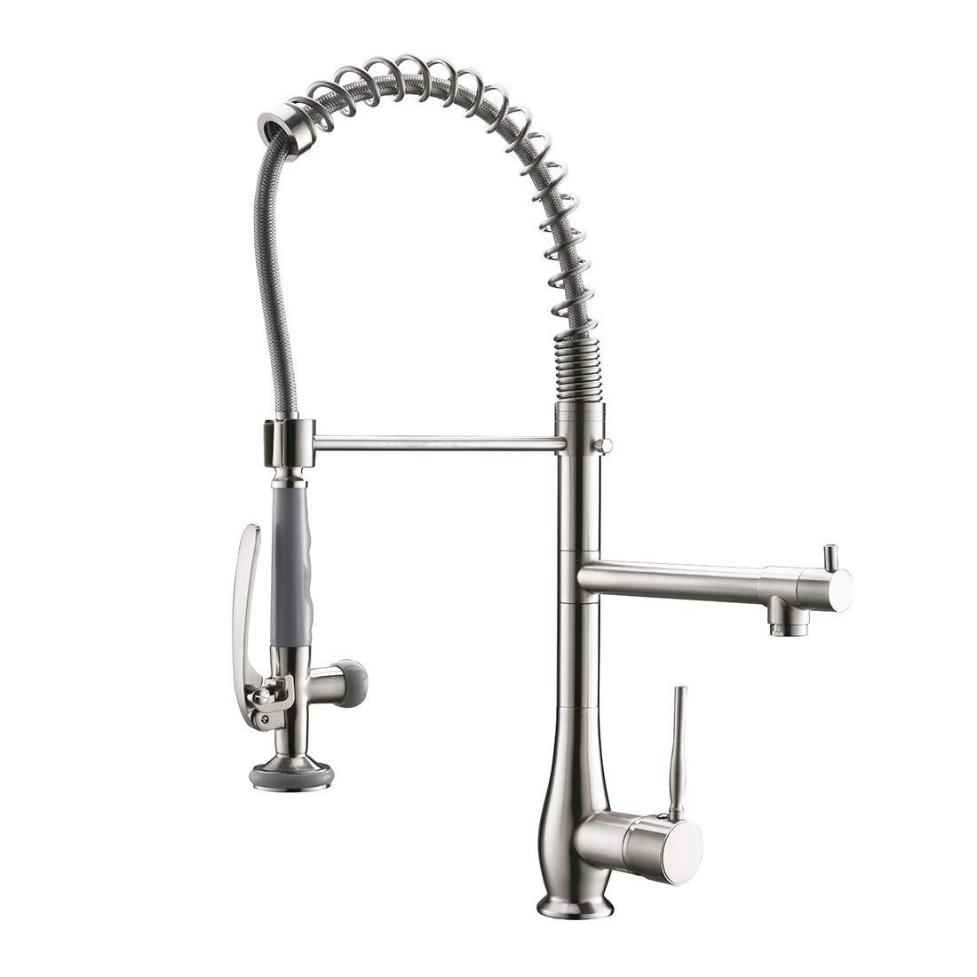 Qidian Commercial Kitchen Faucet with Pull Down Sprayer,Single Handle Stainless Steel Kitchen Sink Faucet Brushed Nickel