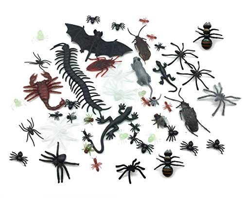 Halloween Novelty Funny Prank Toys Assortment Cute Mouse Spider Rat Centipede Cockroach Bat Scorpion Ant Realistic Fake Bugs Party Decorations Gag Toys & Practical Jokes for Kids Adults 50 PCS