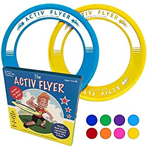Best Kids Frisbee Rings [Yellow/Cyan] - Top Birthday Presents & Gifts for Young Boys Girls Ages 3 and Up - Ultimate Outdoor Toss Toys at Beach Vacation, School Playground, Park, Pool Family Fun