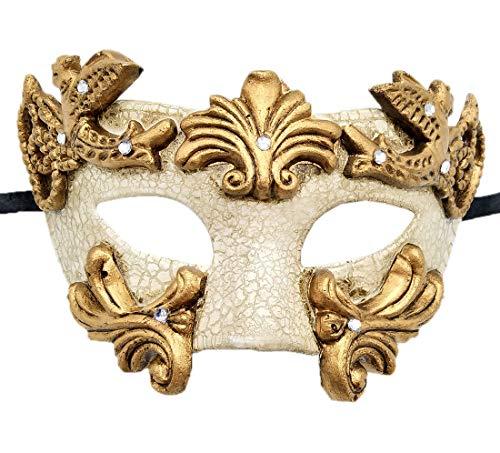(Coolwife Mens Masquerade Mask Vintage Venetian Greek Roman Colombina Mardi Gras Party Mask (A)