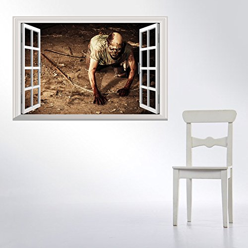 BB.er Horror zombie wall sticker Halloween 3d fake window decoration sticker, 48.5×72cm