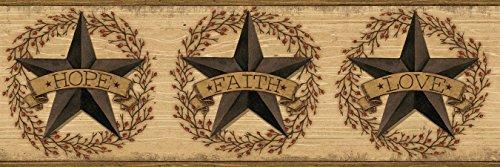 [Chesapeake CCB2253 Country Faith Barn Star Brown Border] (Barn Star Wallpaper)