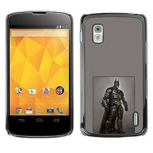 Shell-Star Arte & diseño plástico duro Fundas Cover Cubre Hard Case Cover para LG Google NEXUS 4 / Mako / E960 ( Bat Hero Black Costume Mask Art Painting )