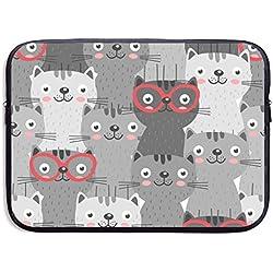 MaoYTU Funda para portátil de 13 Pulgadas y 15 Pulgadas, diseño de Gatos en anteojos Rojas