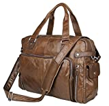 Berchirly 15.6inch Large Genuine Leather Laptop Men Tote Shoulder Briefcase Bag (Coffee)