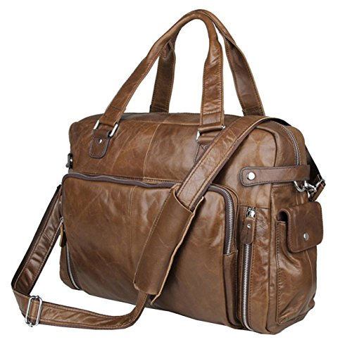 Berchirly 15.6inch Large Genuine Leather Laptop Men Tote Shoulder Briefcase Bag (Coffee) by Berchirly
