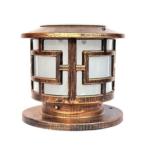 - ZAQXSW--zt Round Column Head lamp Outdoor Solar Column Head lamp European Garden lamp Post Column lamp Wall lamp Door lamp Wall lamp (Size : Height:23cm)