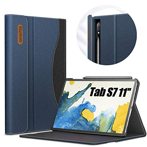 INFILAND Galaxy Tab S7 Case, Multi-Angle Business Folio Cover Built in Pocket Fit Samsung Galaxy Tab S7 11-inch SM-T870/T875 2020 Release Tablet [Auto Wake/Sleep], Navy