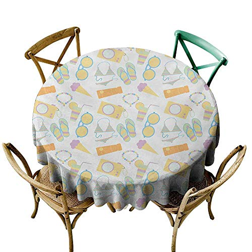 Oil-proof and leak-proof tablecloth Summer Beach Themed Collection Pastel Toned Flip Flops Bikini Ice Cream Lemonade and Camera Waterproof/Oil-Proof/Spill-Proof Tabletop Protector D63