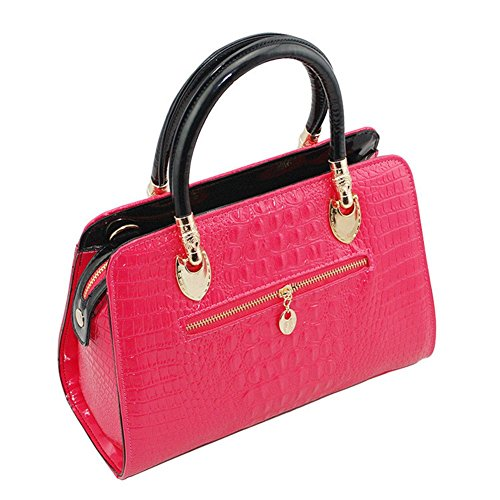 Donna Pelle borsa Coccodrillo Da Tracolla Rosa lorenz Colore Borsetta Qckj In A Di Pu Motivo 4qATX