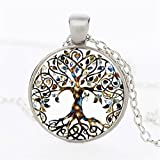 Rurah Fashion Valentine's Day Gift Antique Silver Tone Retro All Kinds of Tree of Life Time Gemstone Necklace Tree Shape Pendant,Gn1 silver