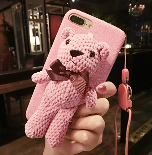 iPhone 6 Plus Case, Plush Doll Teddy Cute Bear Stand Brackets, Flannel Soft Case for iPhone 6s Plus with lanyard (Pink, iPhone 6 Plus / 6s Plus)