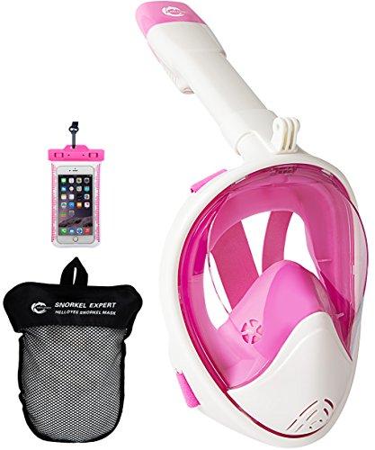 helloyee Schnorchel Maske GoPro kompatibel Atmen frei für Erwachsene und Kinder, Schnorcheln Maske Full Face Anti-Fog Anti-Auslauf-Design mit wasserdichte Handy-Tasche, M-EU-SKM02-PK-WT-S, Pink-White