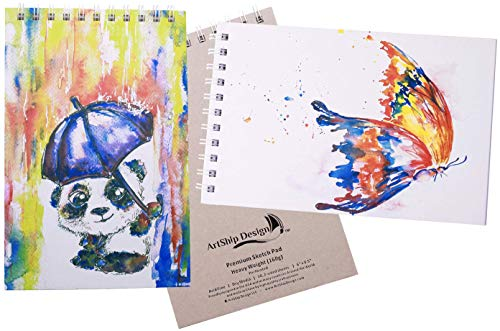 Sketchbook: Premium Hardcover Heavyweight (160g) Spiral Bound Gift Collectable (Panda+Butterfly, 9x12)
