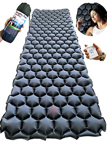 Rayan Deluxe Backpacking Sleeping Pad for Camping, Hiking or Travel - Ultralight Self Inflating Mat - Lightweight, Compact and Comfortable Air -