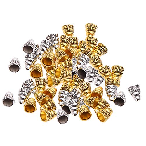 Prettyia 100 Pieces Silver & Gold Tower Fancy Cone Bead Caps Jewellery Findings Beading Accessories fit Earring Necklace Bracelet Tassel End Caps - 1.8mm Hole