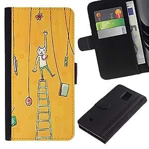 Planetar® Modelo colorido cuero carpeta tirón caso cubierta piel Holster Funda protección Para Samsung Galaxy Note 4 IV / SM-N910 ( Cat Painting Art Yellow )