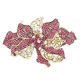 EVER FAITH® Orchid Flower Pink Austrian Crystal Hair Barrette Clip Gold-Tone A00250-1