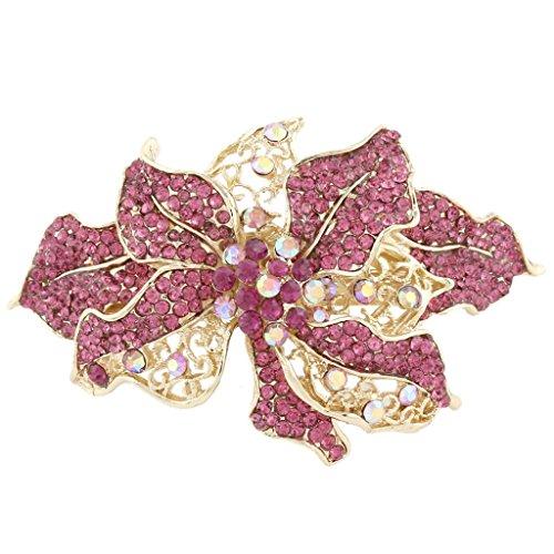 EVER FAITH® Orchid Flower Pink Austrian Crystal Hair Barrette Clip Gold-Tone