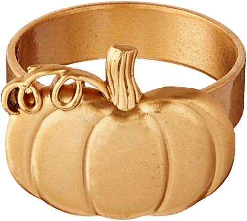 Kate Aspen Pumpkin Napkin Ring (Set of 4), Gold