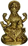 """5"""" Vintage Handmade/Handcrafted Religious Gift Solid Brass Statues/Sculptures of Hindu Goddess Lakshmi Home Decor Antique Artifact"""