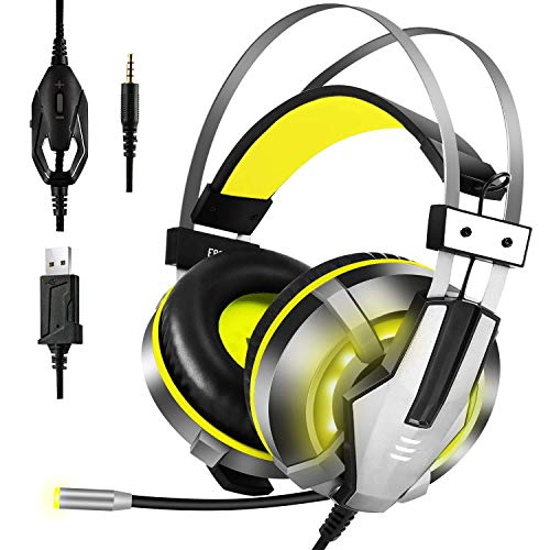 EKSA Stereo Gaming Headset for PS4, PC, Xbox One Controller, Noise Cancelling Over Ear Headphones with Mic, LED Light, Bass Surround, Soft Memory Earmuffs for Laptop Mac Nintendo Switch Games, Yellow